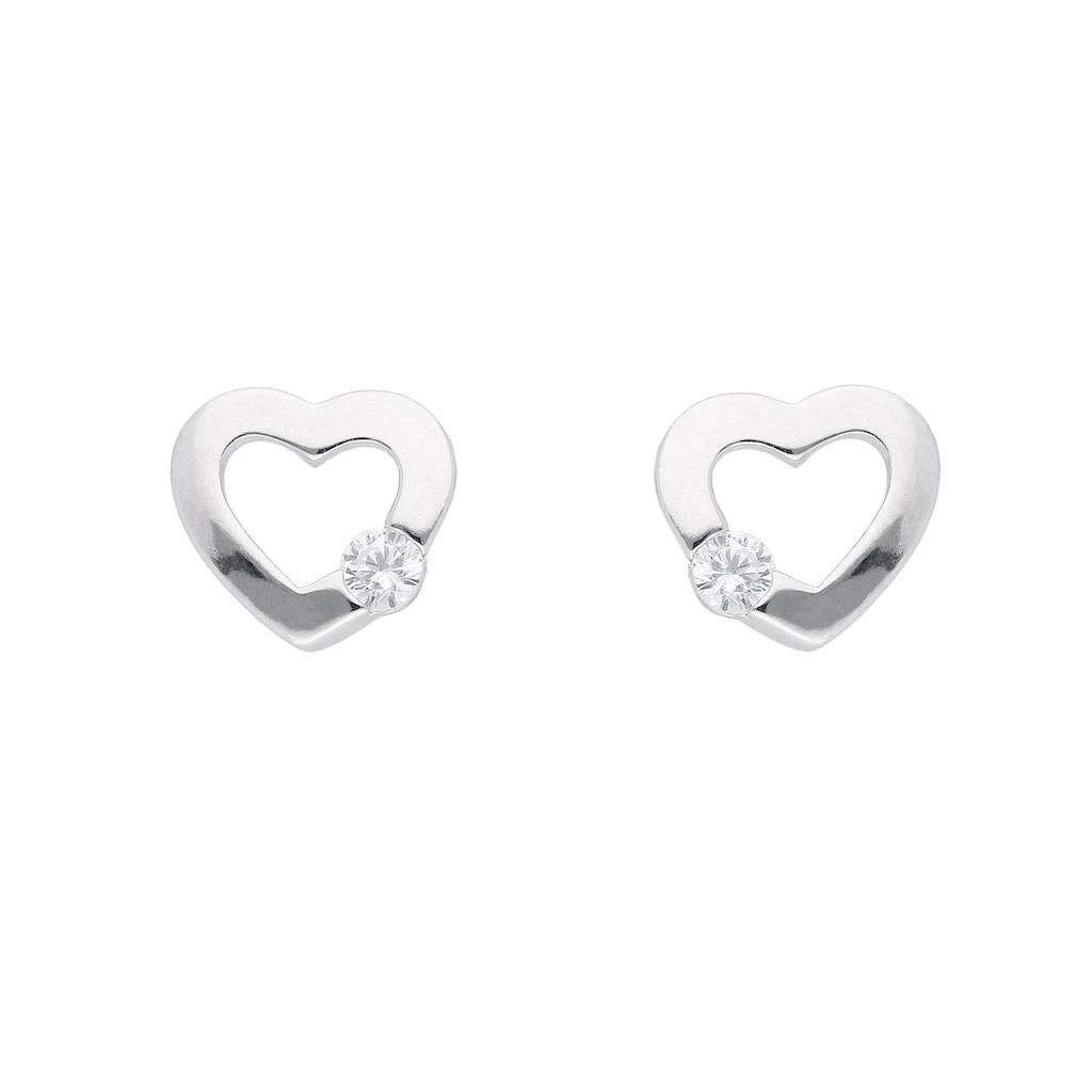 Adelia´s Paar Ohrstecker »925 Silber Ohrringe / Ohrstecker Herz mit Zirkonia«, Silberschmuck für Damen