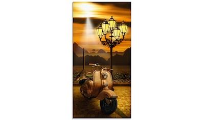 Artland Glasbild »Oldtimer Motorroller romantisch«, Motorräder & Roller, (1 St.) kaufen