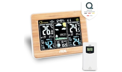 ADE Funkwetterstation »WS 1703«, (mit Außensensor), mit Farbdisplay und Bambus-Rahmen kaufen