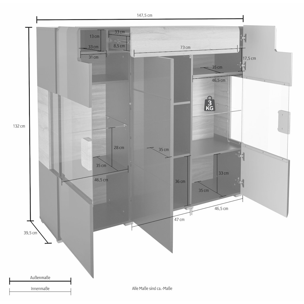 TRENDMANUFAKTUR Highboard »Toledo«, Breite 147,4 cm