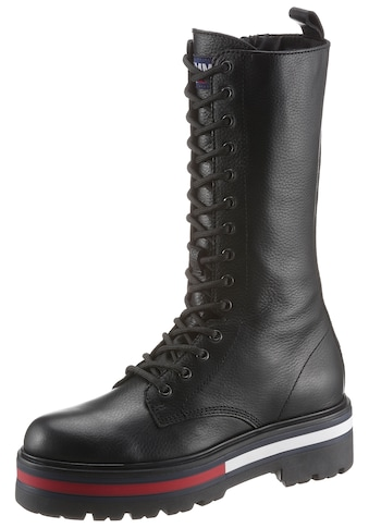 TOMMY JEANS Schnürstiefel »FLAG OUTSOLE LONG LACE UP BOOT« kaufen