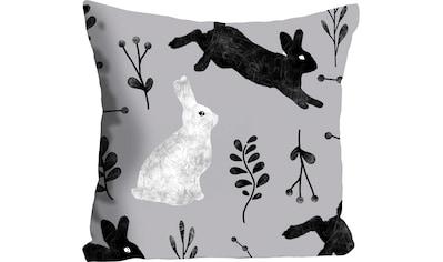 queence Kissenhülle »Eiko«, (1 St.), mit schwarzen und weißen Hasen kaufen