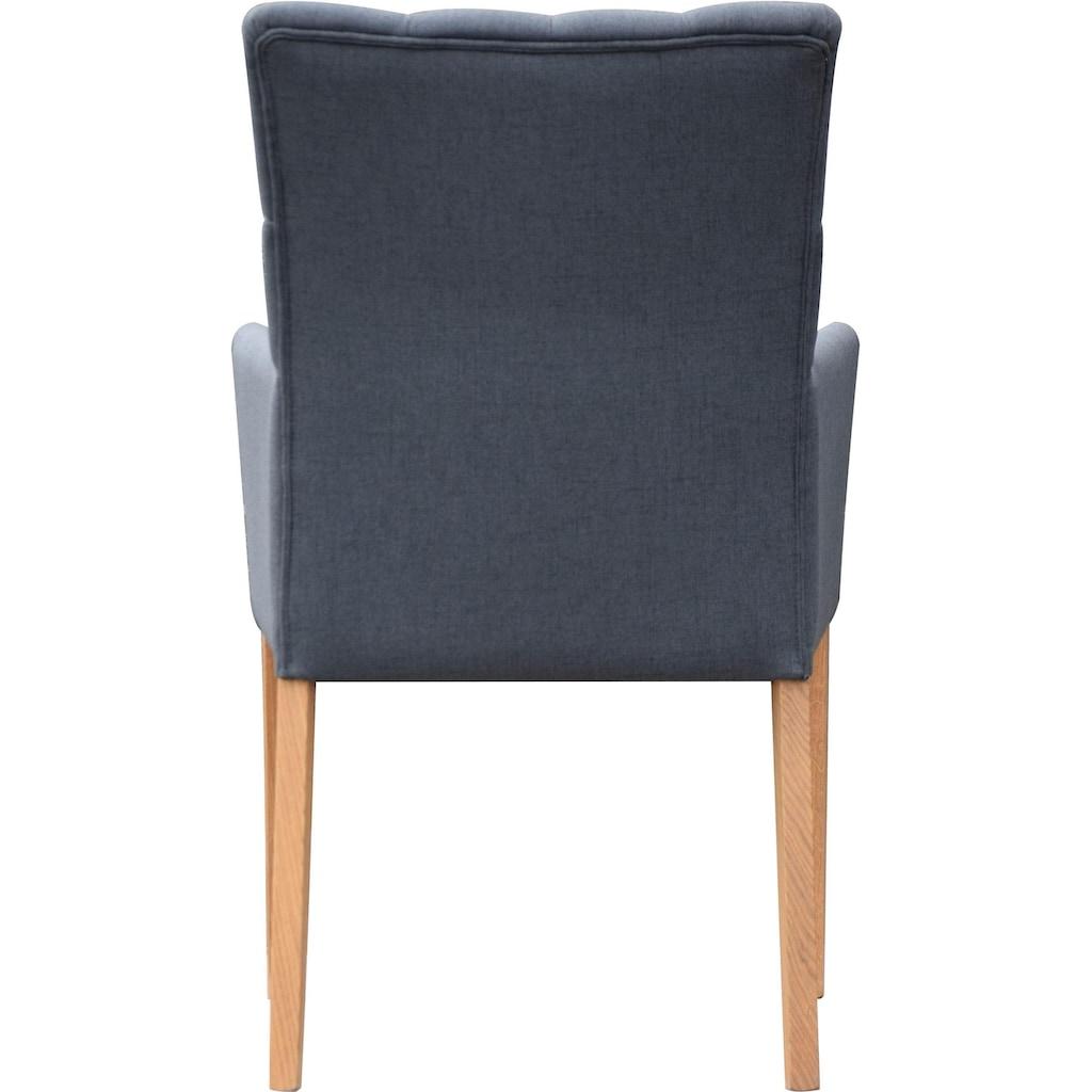 Leonique Armlehnstuhl »Peillon«, mit Knopfsteppung, Beine aus massiver Eiche