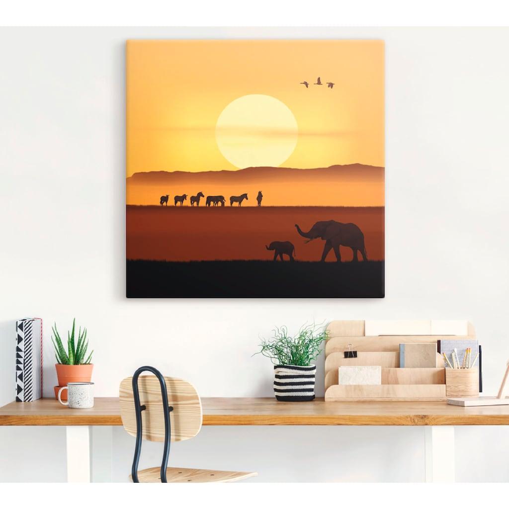 Artland Wandbild »Ein Morgen in der afrikanischen Savanne«, Wildtiere, (1 St.)