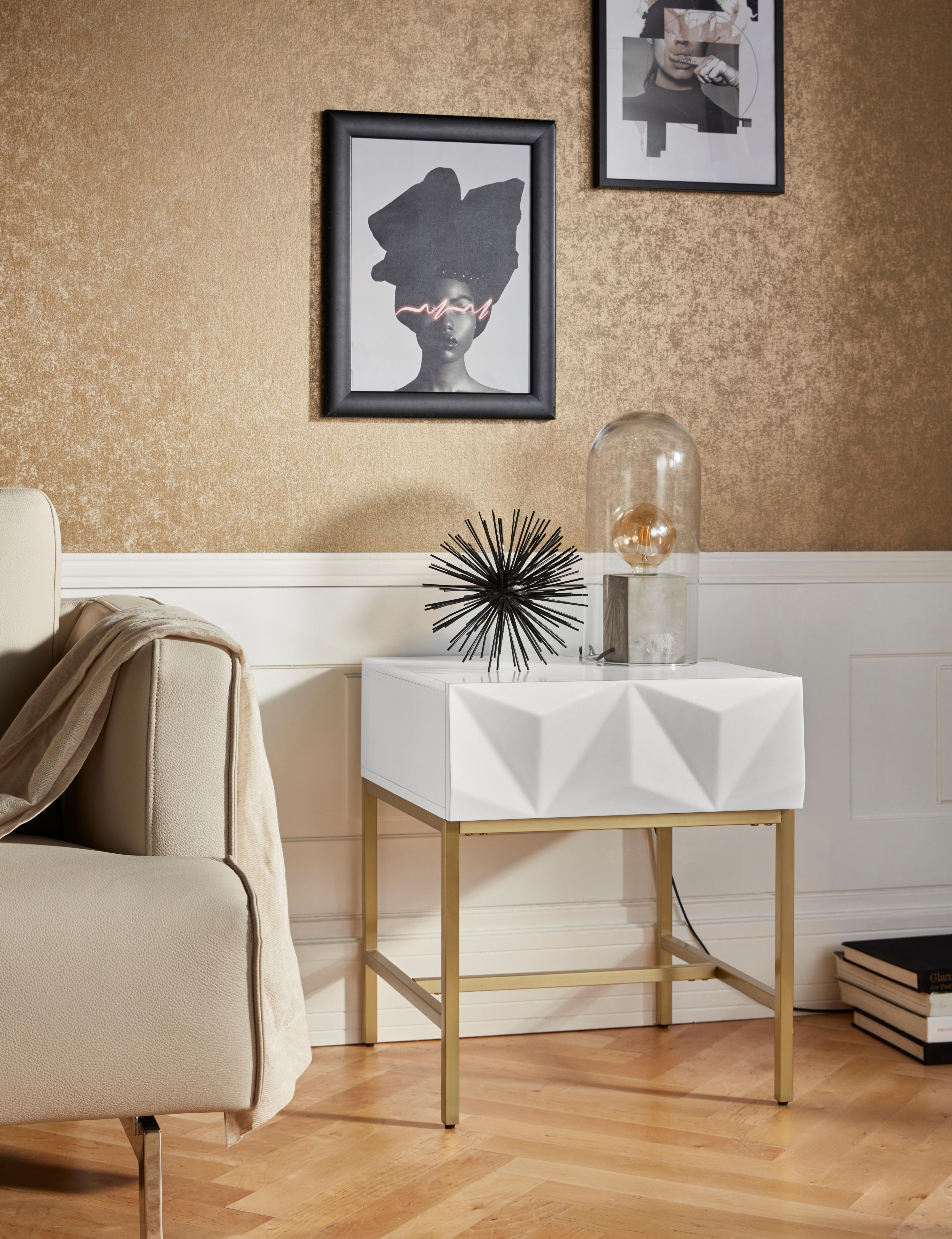 Leonique Beistelltisch Minfi, Schublade mit 3D-Front, auch als Nachttisch geeignet, Breite 50 cm weiß Beistelltische Tische