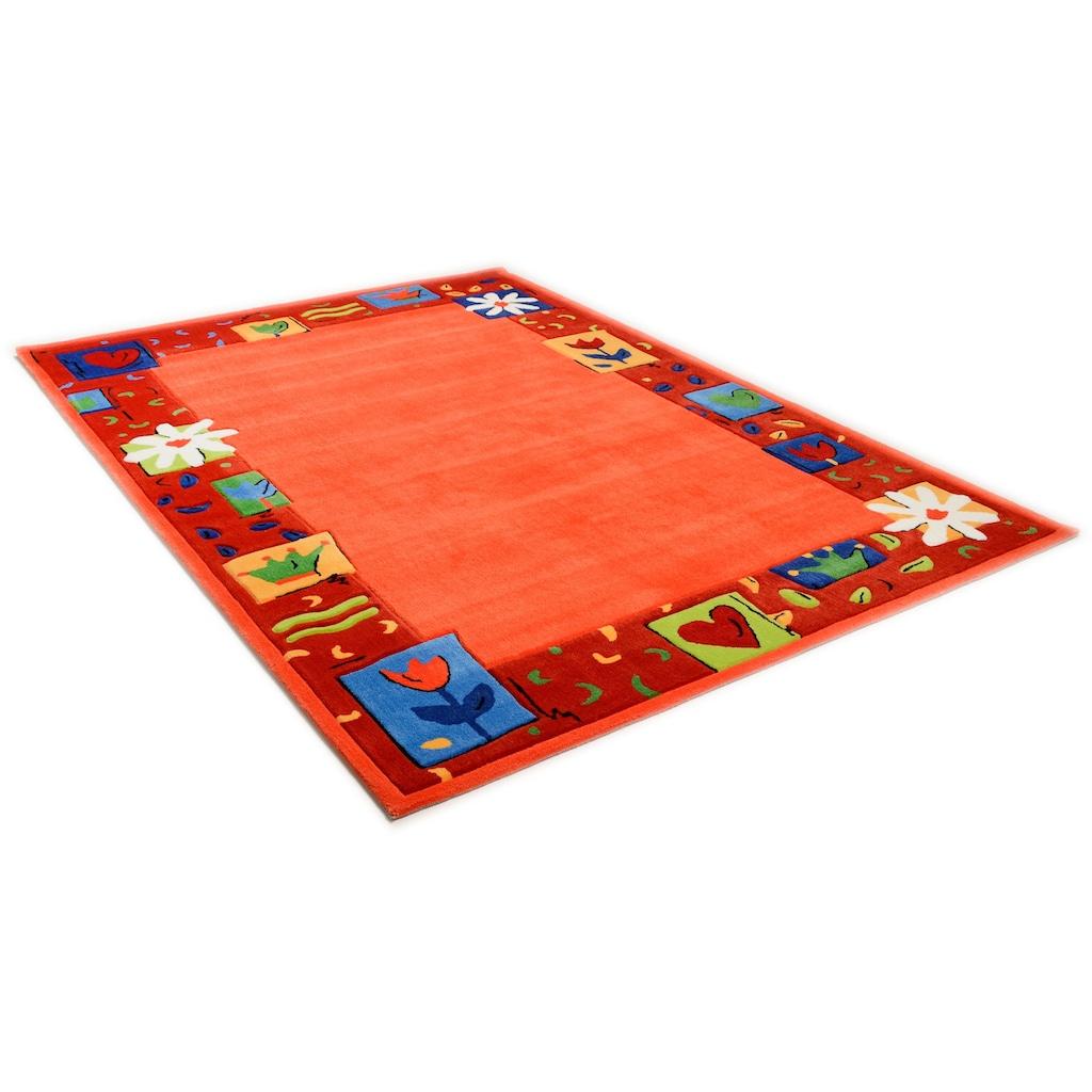THEKO Kinderteppich »Das Blumen Paradies«, rechteckig, 14 mm Höhe, Kurzflor, hochwertiges Acrylgarn, handgearbeiteter Reliefschnitt, mit Bordüre, Kinderzimmer