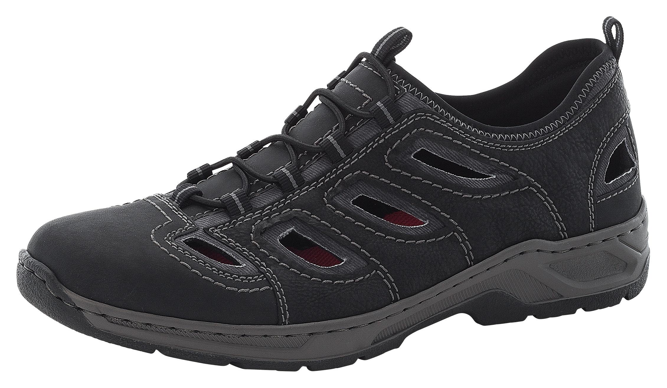 Rieker Slipper, mit Ziernähte schwarz Herren Slipper Sneaker