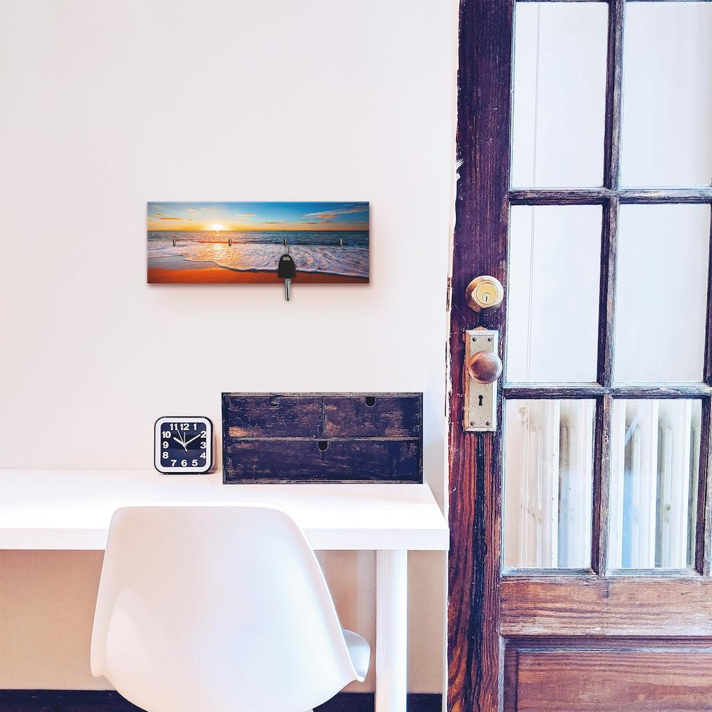 Artland Schlüsselbrett »Sonnenuntergang und das Meer«, aus Holz mit 4 Schlüsselhaken – Schlüsselboard, Schlüsselbretter, Schlüsselhalter, Schlüsselaufhänger für den Flur – Stil: Modern