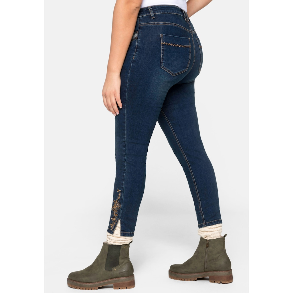 Sheego Stretch-Jeans, Skinny im Trachten-Look