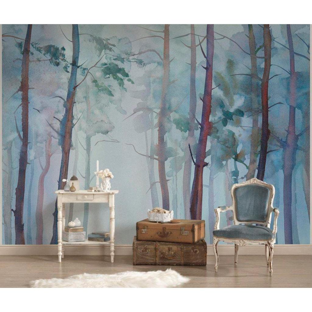 living walls Fototapete »Aquarellwald Vlies«, 350 x 255 cm