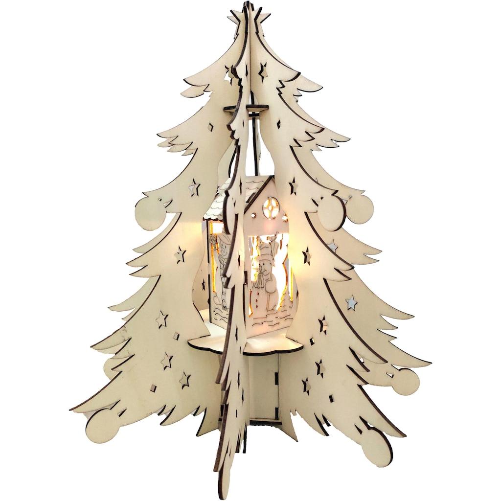 BONETTI LED Dekoobjekt »Holztannenbaum«, Warmweiß