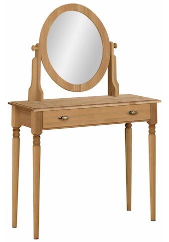 Home affaire Schminktisch »Irena«, aus Massivholz, mit Spiegel und einer Schublade kaufen