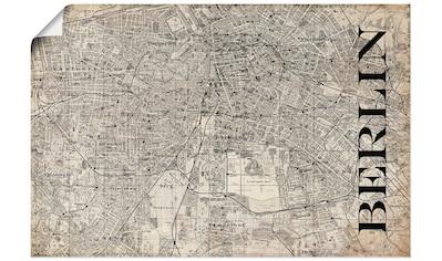 Artland Wandbild »Berlin Karte Straßen Karte Grunge«, Deutschland, (1 St.), in vielen Größen & Produktarten - Alubild / Outdoorbild für den Außenbereich, Leinwandbild, Poster, Wandaufkleber / Wandtattoo auch für Badezimmer geeignet kaufen
