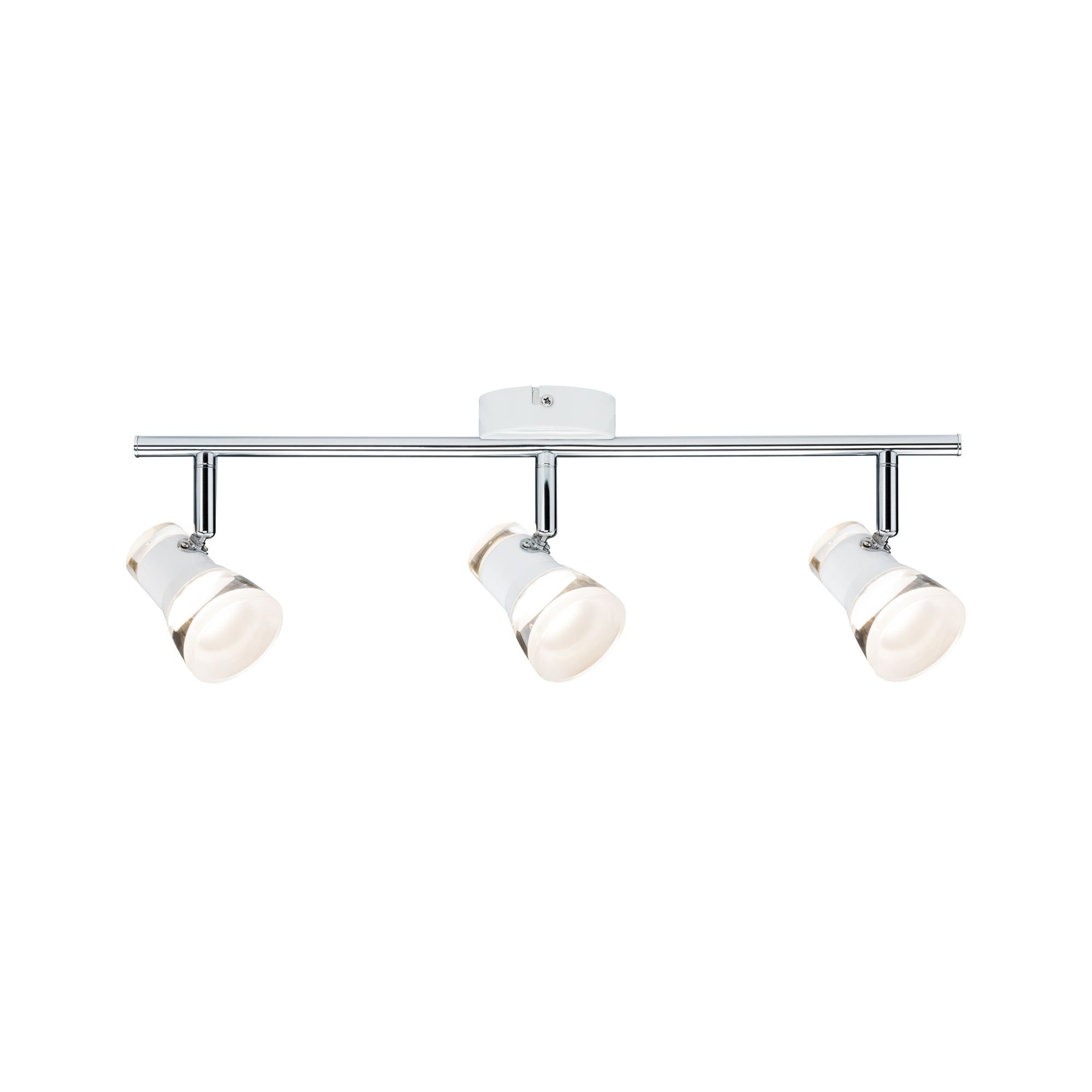 Paulmann LED Deckenleuchte 3er-Spot Weiß/Chrom Clear inkl. Leuchtmittel 3x4,3W, 1 St., Warmweiß