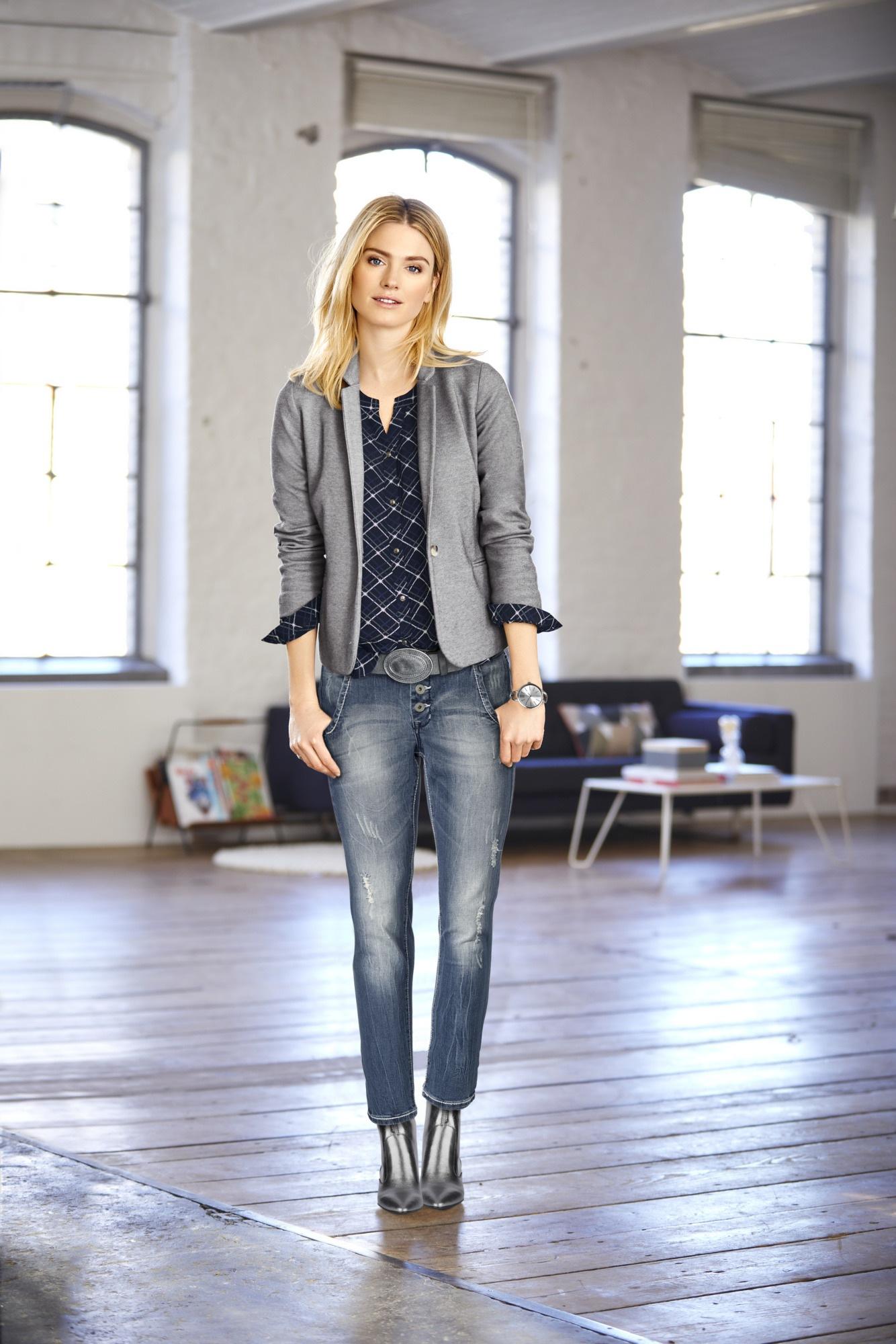heine CASUAL Boyfriend-Jeans im Used-Look | Bekleidung > Jeans > Boyfriend-Jeans | Blau | Baumwolle - Elasthan | Heine Casual