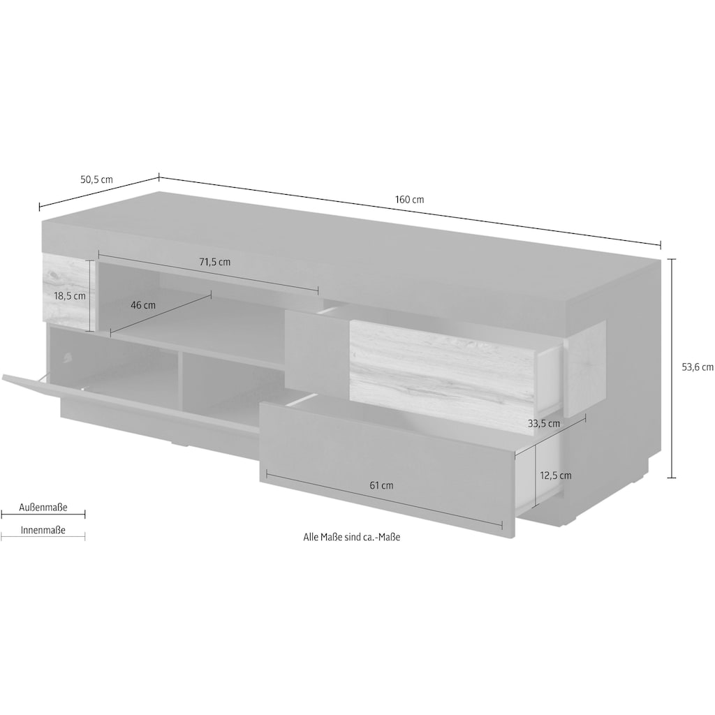 TRENDMANUFAKTUR Lowboard »SILKE«, Breite 160 cm