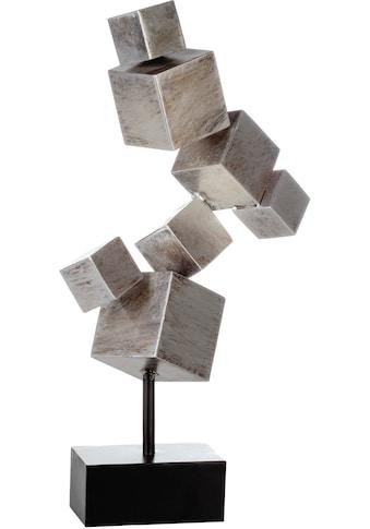 Casablanca by Gilde Dekoobjekt »Skulptur Cubes, antik silberfarben«, Höhe 56 cm, aus Metall, Wohnzimmer kaufen