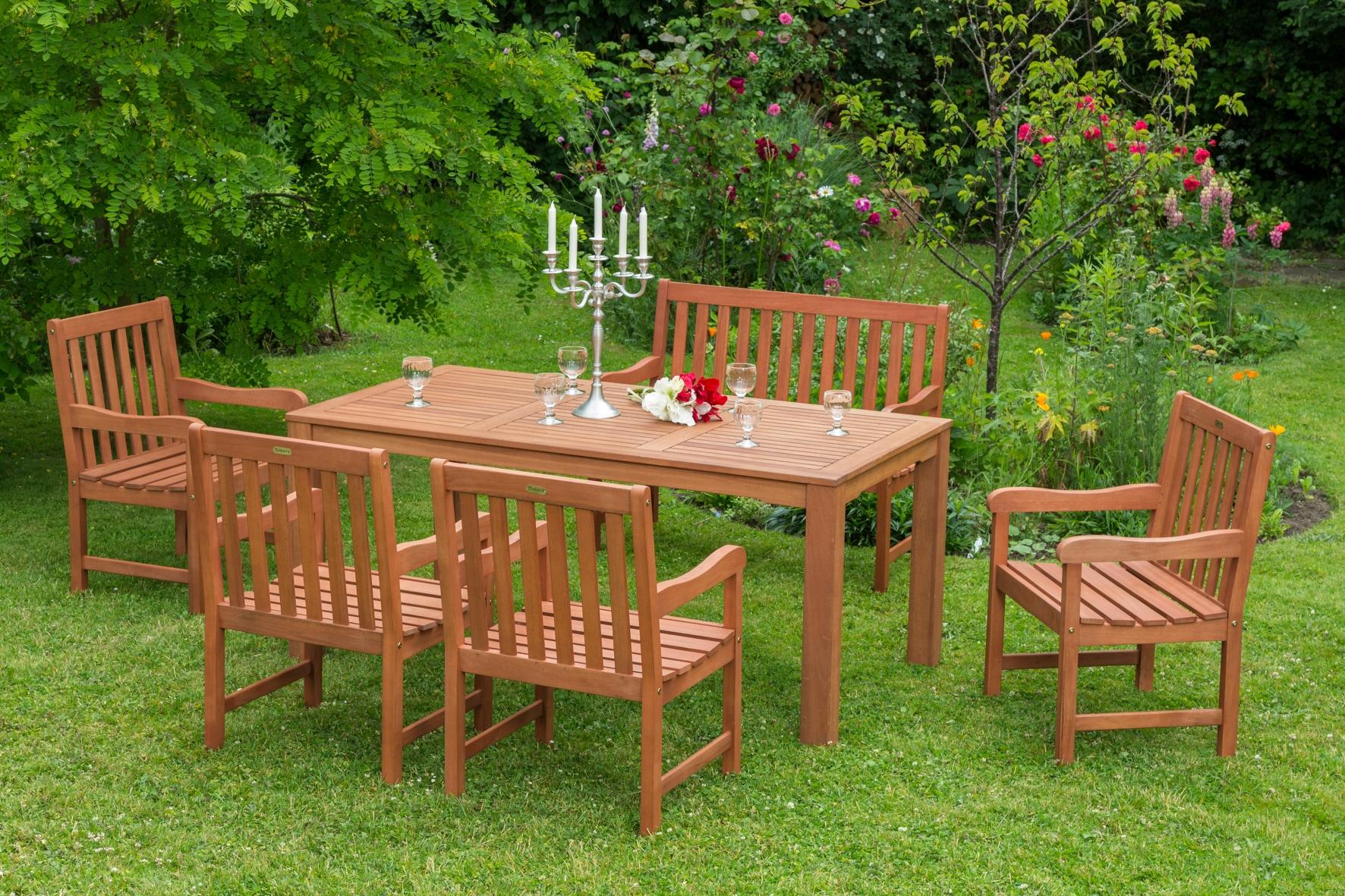 MERXX Gartenmöbelset Santos 4tlg 2 Sessel Bank Tisch Eukalyptusholz natur