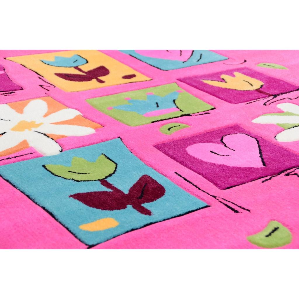 THEKO Kinderteppich »Wunderland«, rechteckig, 14 mm Höhe, Kurzflor, hochwertiges Acrylgarn, Handgearbeiteter Reliefschnitt (Carving), Kinderzimmer