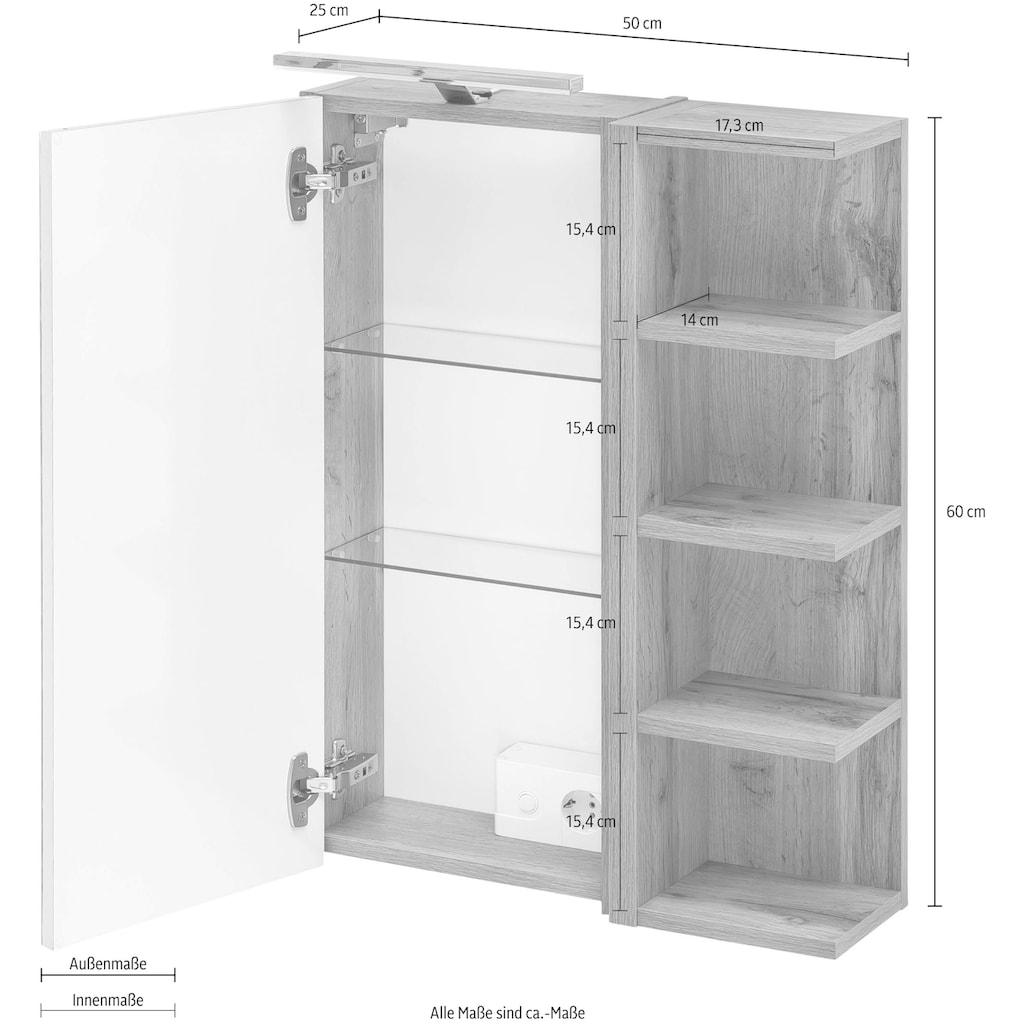 Schildmeyer Spiegelschrank »Esther«, Breite 50 cm, 1-türig, LED-Beleuchtung, Schalter-/Steckdosenbox, Glaseinlegeböden, 4 Regalfächer, Made in Germany