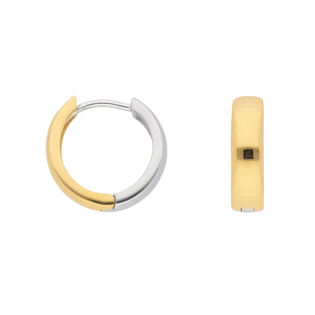 Adelia´s Paar Creolen »333 Weißgold Ohrringe / Creolen Ø 13,8 mm«, Goldschmuck für Damen