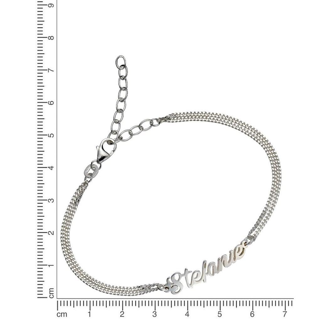 Firetti Armband »Namenskette als Armband in Panzerkettengliederung«