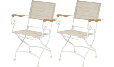 PLOSS Gartenstuhl »Rom«, (2er Set), mit Armlehnen, klappbar, Eisen/Textil kaufen