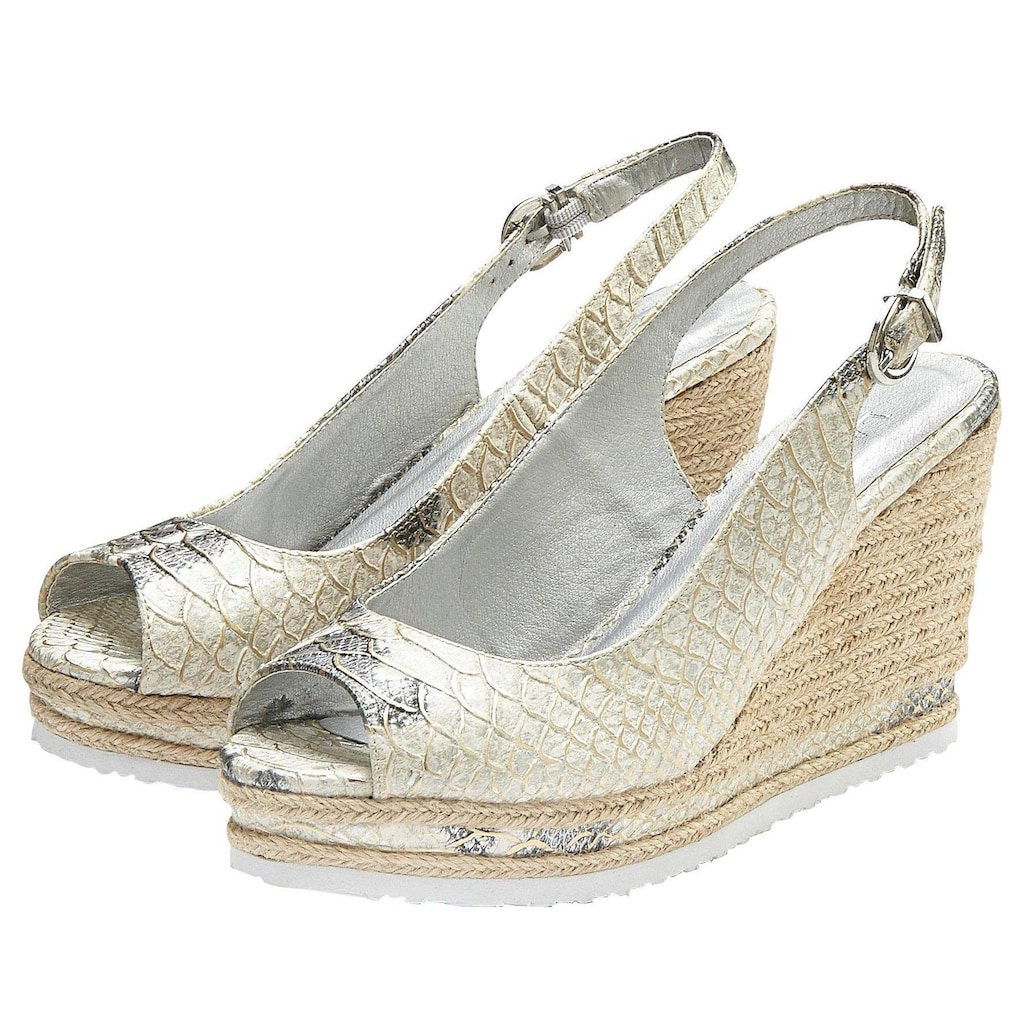 LASCANA High-Heel-Sandalette, mit Keilabsatz und Animal-Prägung