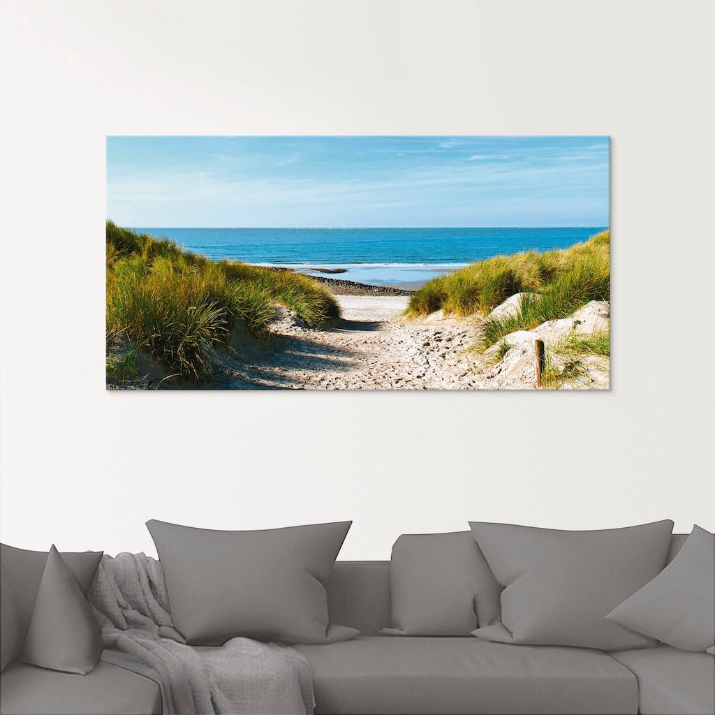 Artland Glasbild »Strand mit Sanddünen und Weg zur See«, Strand, (1 St.)