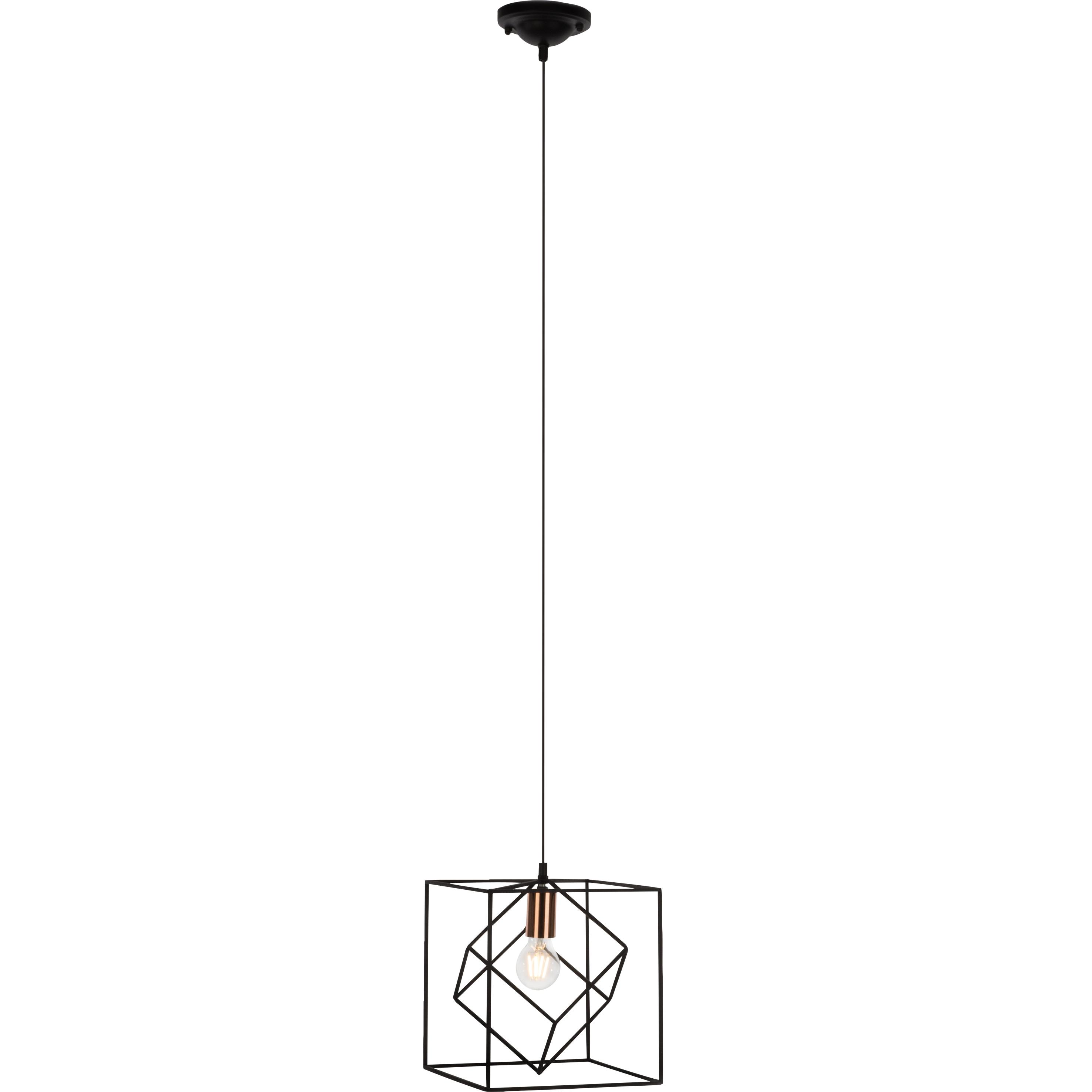Brilliant Leuchten Tycho Pendelleuchte 25x25cm schwarz/kupfer