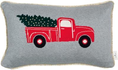 TOM TAILOR Dekokissen »Christmascar«, Gestrickte Kissenhülle mit goldkeder und... kaufen