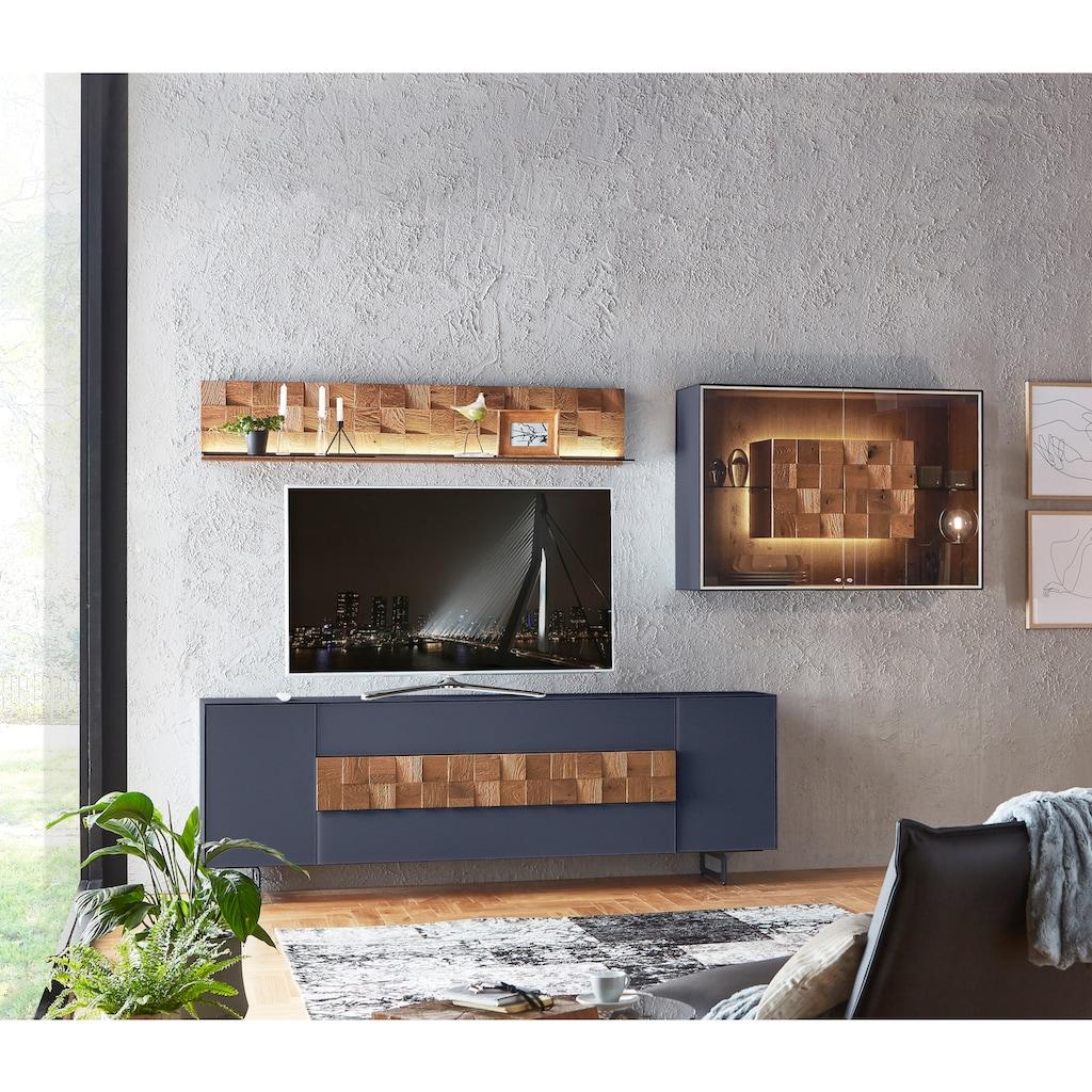 LEONARDO Wohnzimmer-Set »LIV«, (4 St.), Massivholzkacheln enthalten, mit Hängevitrine und Wandpaneel, in Mattglas blau