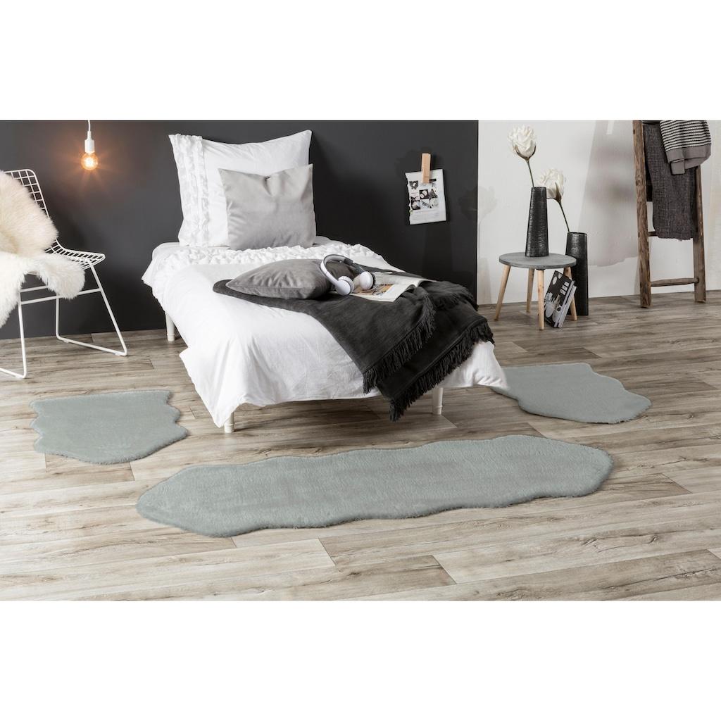 Andiamo Bettumrandung »Lamm Fellimitat«, fellförmig, Bettvorleger, Läufer-Set für das Schlafzimmer, Kunstfell, gewebt, besonders weich durch Microfaser