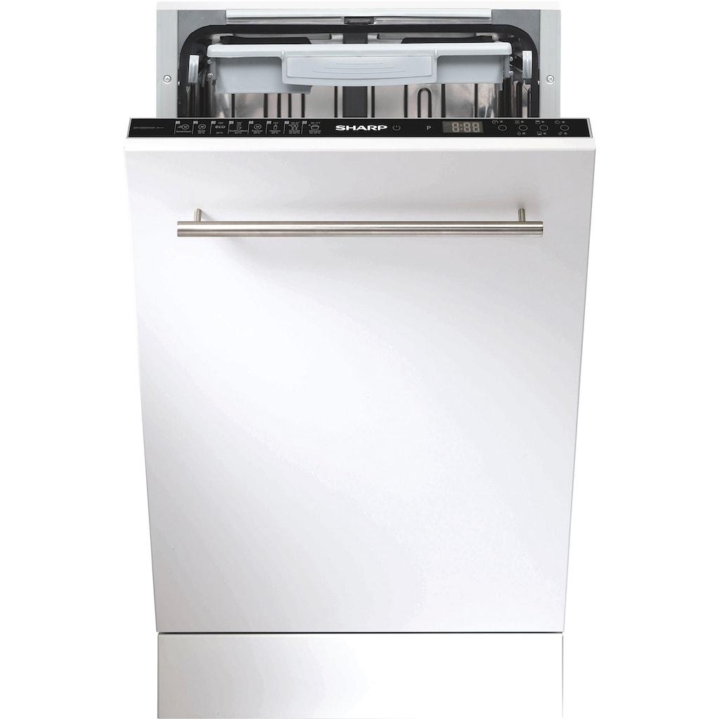 Sharp vollintegrierbarer Geschirrspüler, QW-NI54I44DX-DE, 9 Maßgedecke