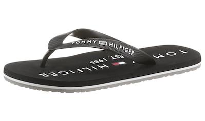TOMMY HILFIGER Zehentrenner »HILFIGER PRINT BEACH SANDAL«, mit Logoschriftzügen kaufen