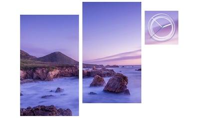 Conni Oberkircher´s Bild »Violet Stones«, Landschaften, (Set), mit dekorativer Uhr kaufen
