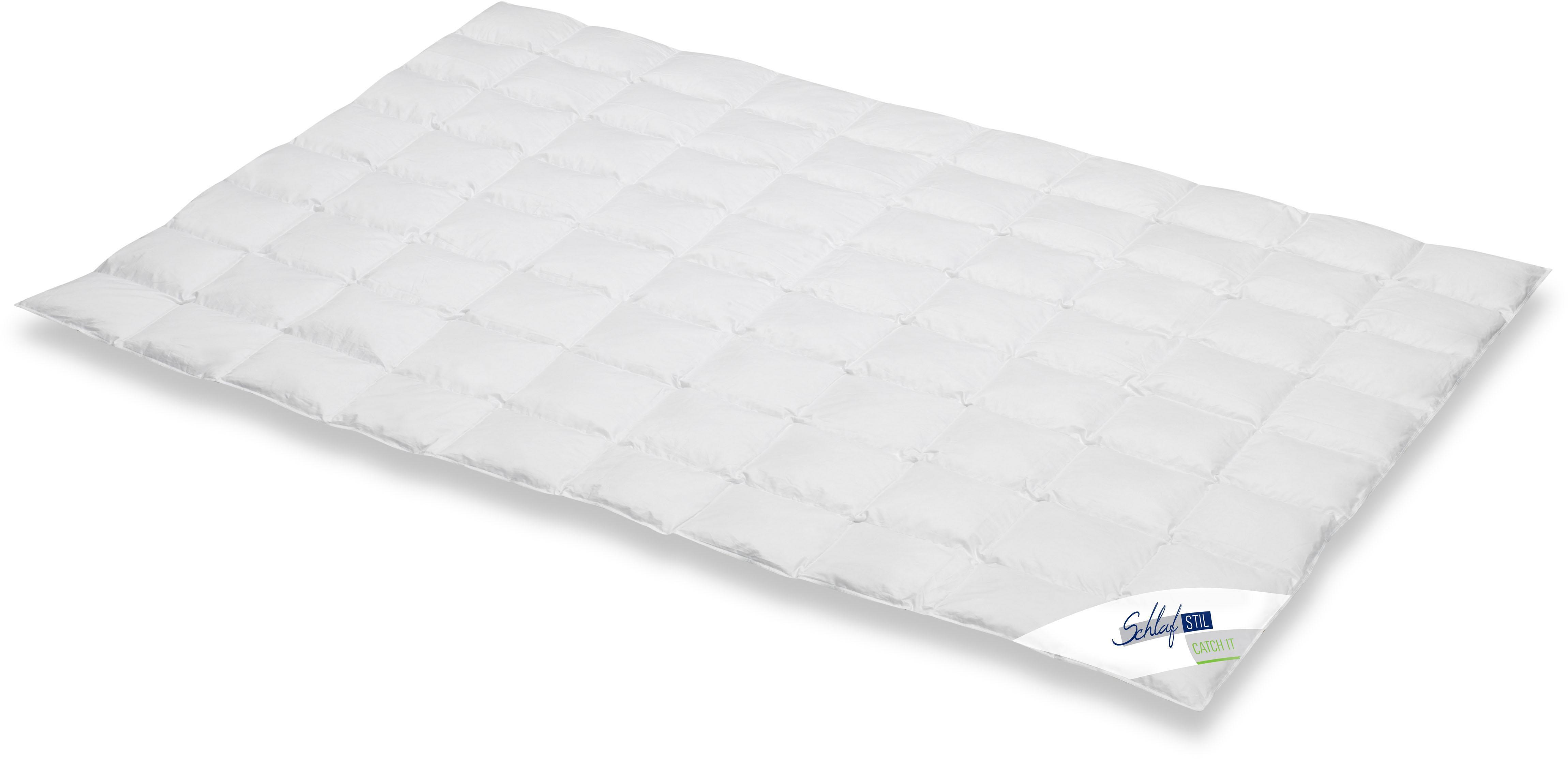 Daunenbettdecke Catch It Schlafstil leicht Füllung: 90% Daunen 10% Federn Bezug: 100% Baumwolle