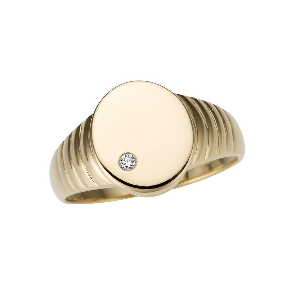 Firetti Goldring »Siegelring, Glanz, massiv, seitlich mit Rillen«, mit Brillant