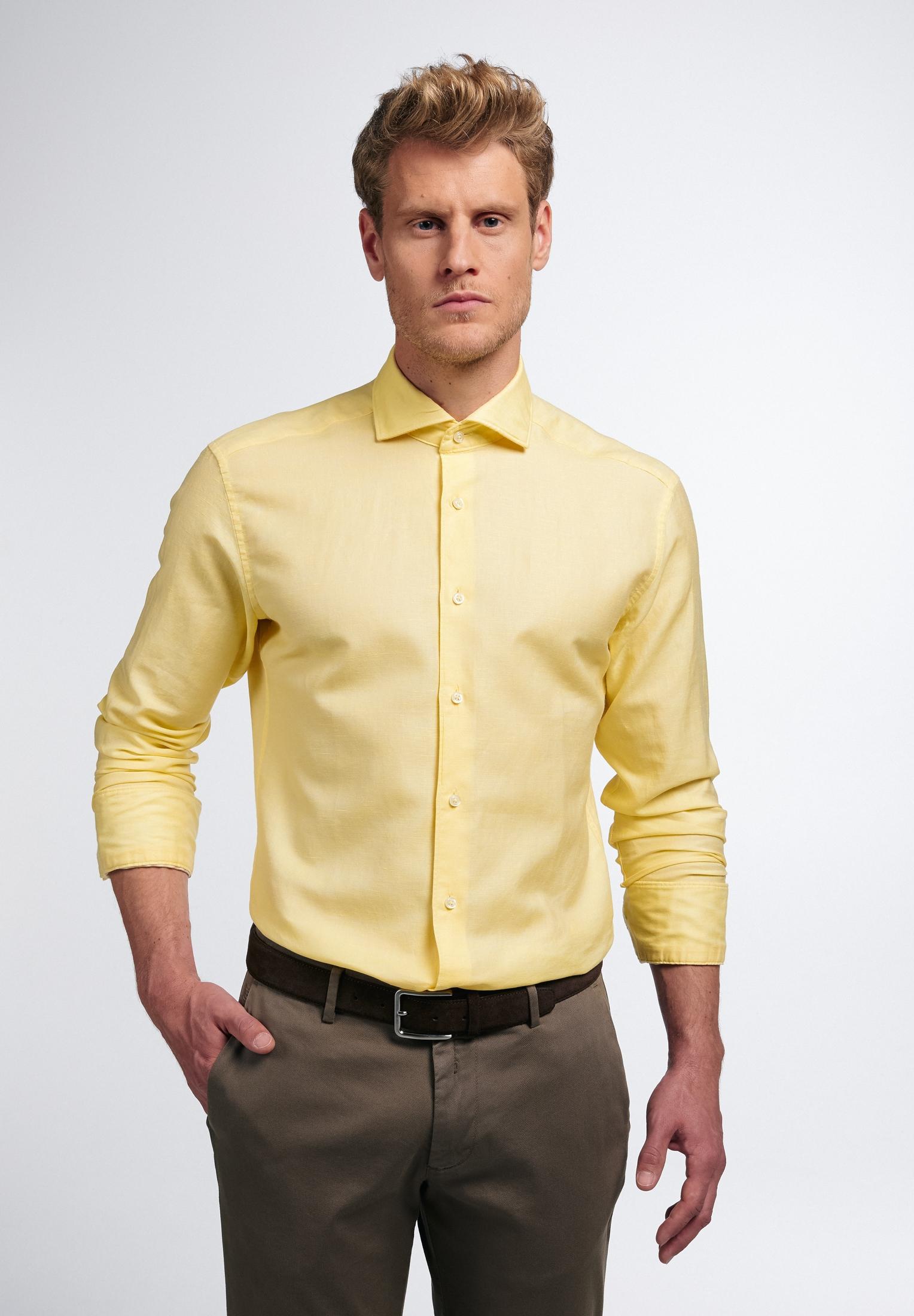 Eterna Businesshemd SLIM FIT, Langarm gelb Herren Business Hemden Businessmode