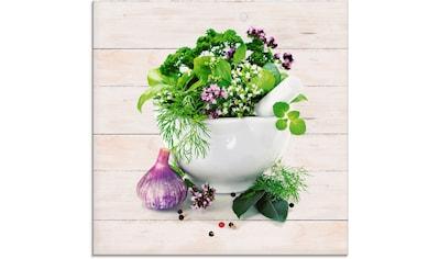 Artland Glasbild »Heilkräuter auf weißem Hintergrund Küche«, Arrangements, (1 St.) kaufen
