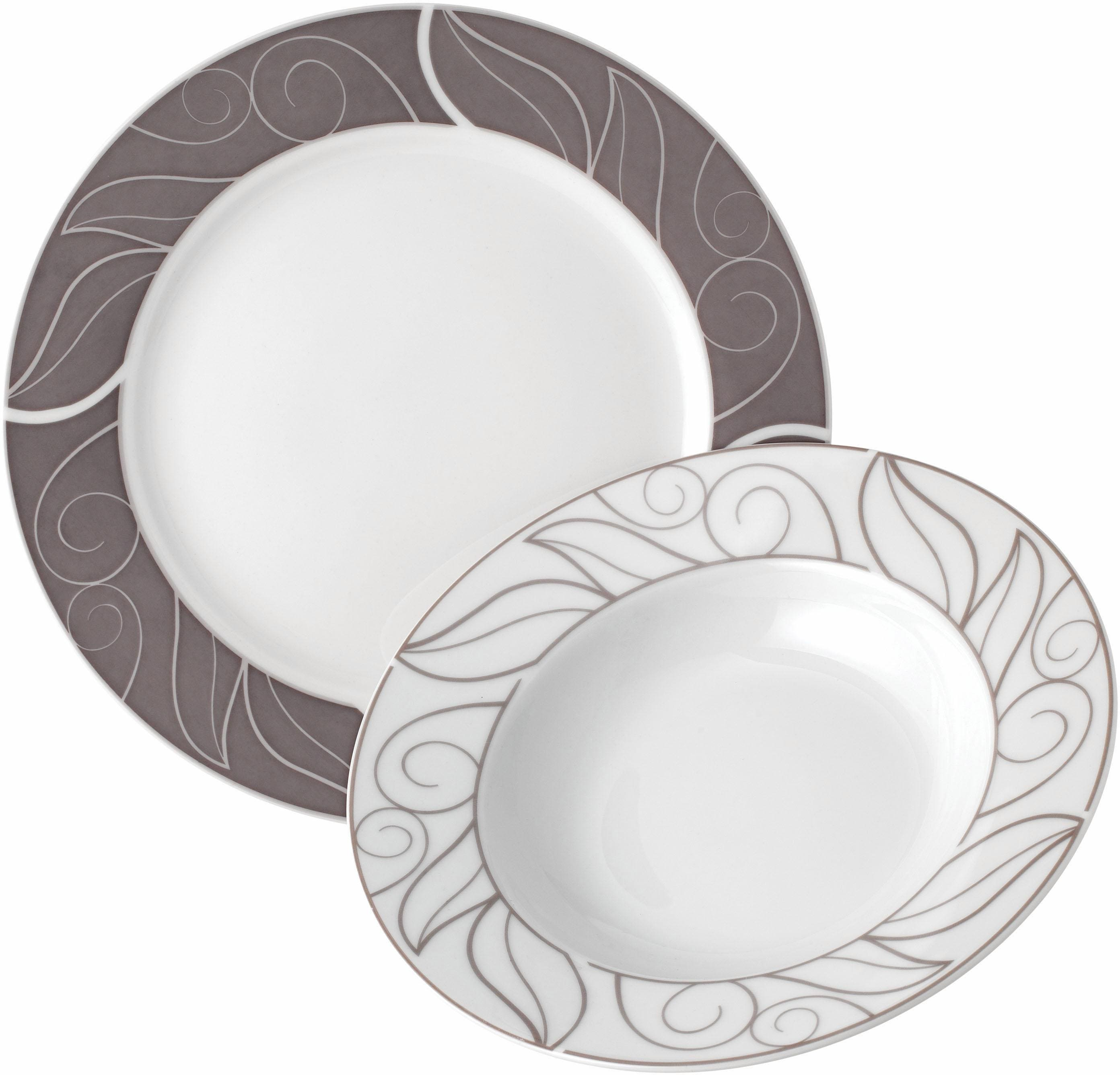 van Well Tafelservice GRENOBLE, (Set, 12 tlg.), Spülmaschinengeeignet weiß Geschirr-Sets Geschirr, Porzellan Tischaccessoires Haushaltswaren