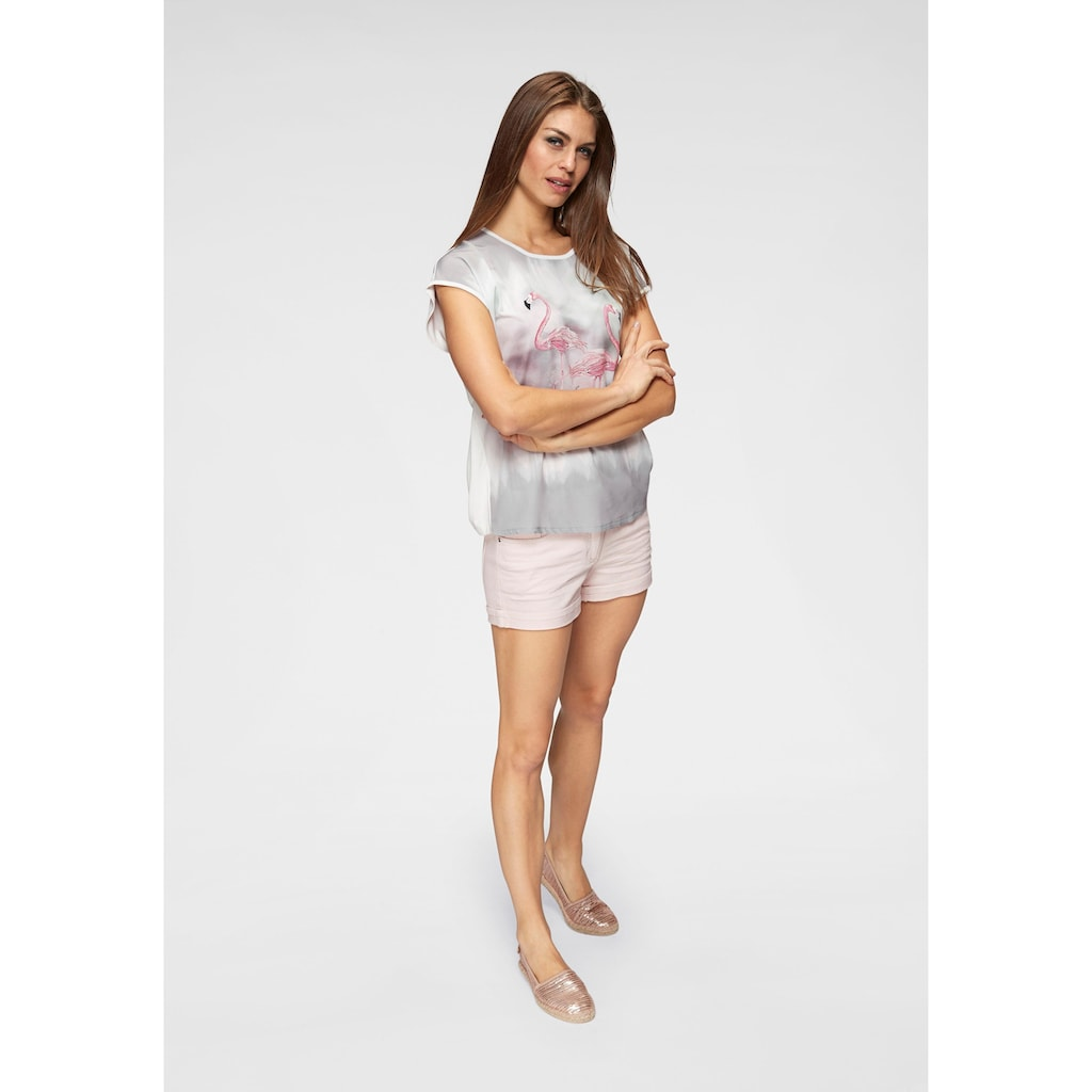 Aniston CASUAL T-Shirt, mit Glitzersteinchen und Flamingos