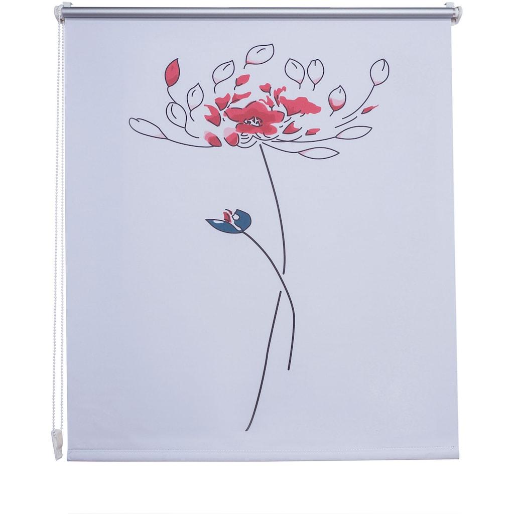 Liedeco Seitenzugrollo »Druckdesign Blume«, verdunkelnd, energiesparend, ohne Bohren, freihängend, Klemmfix Rollo Design Blume