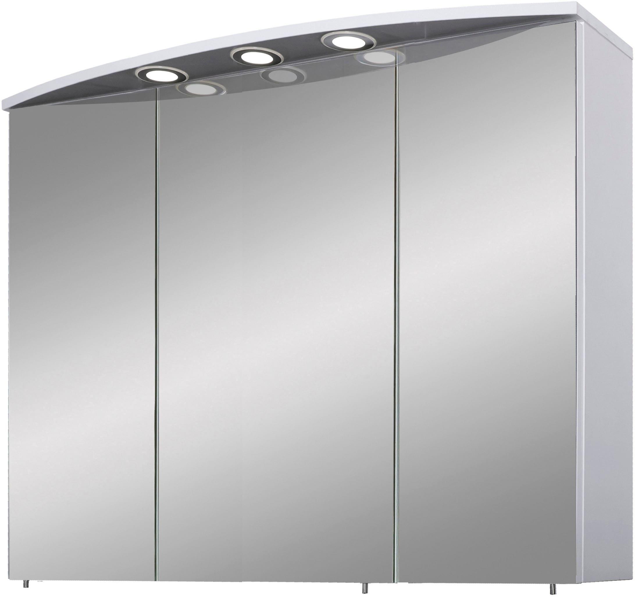 Schildmeyer Spiegelschrank Verona, Breite 100 cm, 3-türig, 3 LED-Einbaustrahler, Schalter-/Steckdosenbox, Glaseinlegeböden, Made in Germany