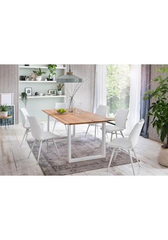 Premium collection by Home affaire Esstisch »Montreal«, Eichenholzlamellen geölt mit eleganter Schweizer Kante, Gestell weiß kaufen