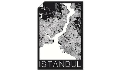 Artland Wandbild »Retro Karte Istanbul Schwarz & Weiß«, Landkarten, (1 St.), in vielen Größen & Produktarten - Alubild / Outdoorbild für den Außenbereich, Leinwandbild, Poster, Wandaufkleber / Wandtattoo auch für Badezimmer geeignet kaufen