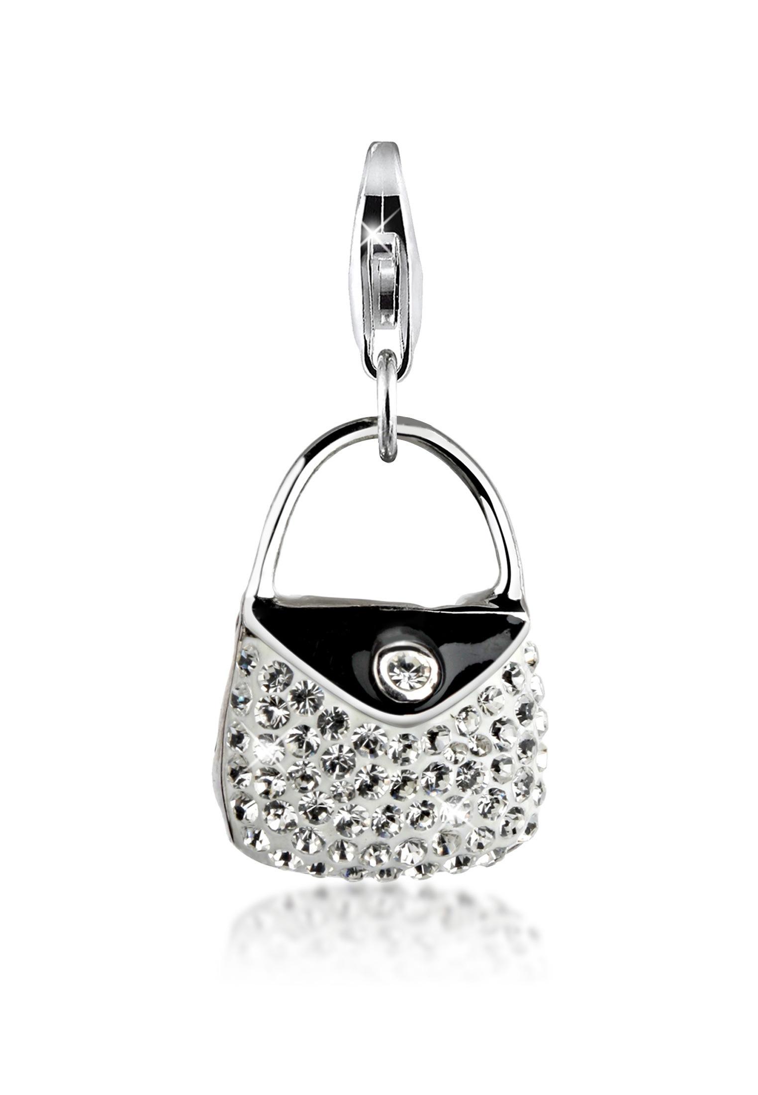 Nenalina Charm-Einhänger Handtasche Emaille Swarovski Kristalle 925 Silber   Schmuck > Charms > Charms Anhänger   Nenalina
