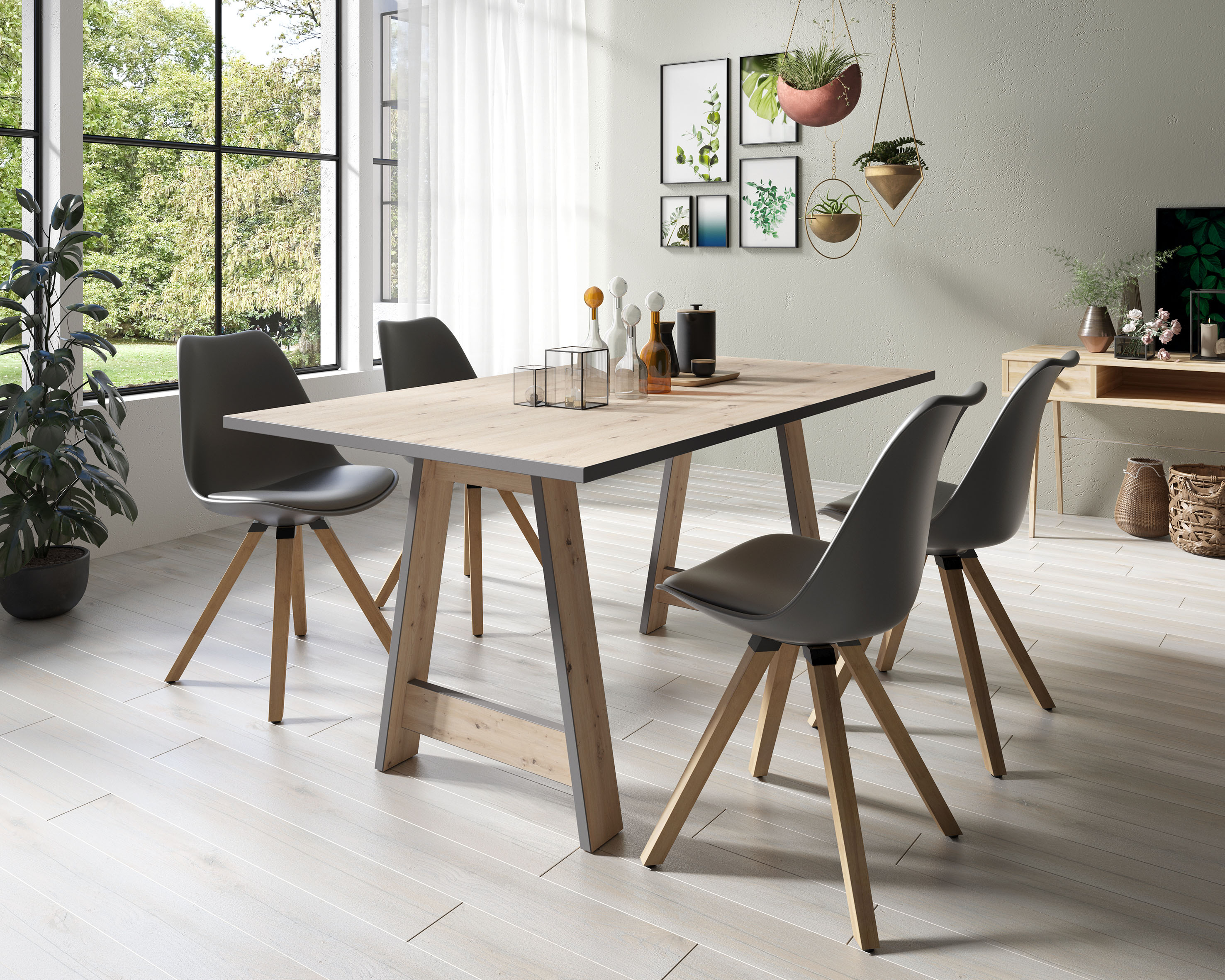 Homexperts Essgruppe Till und Kaja (Set 5-tlg Esstisch mit 4 Stühlen)