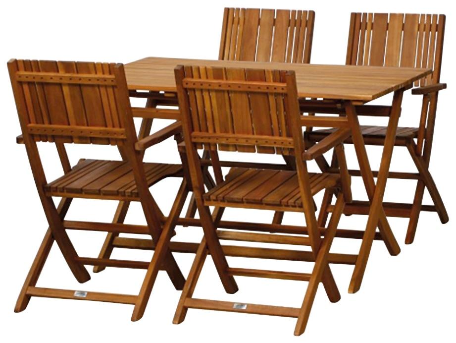 SIENA GARDEN Gartenmöbelset Falun SET 5-tlg Akazienholz 4 Sessel Tisch 120x80 cm