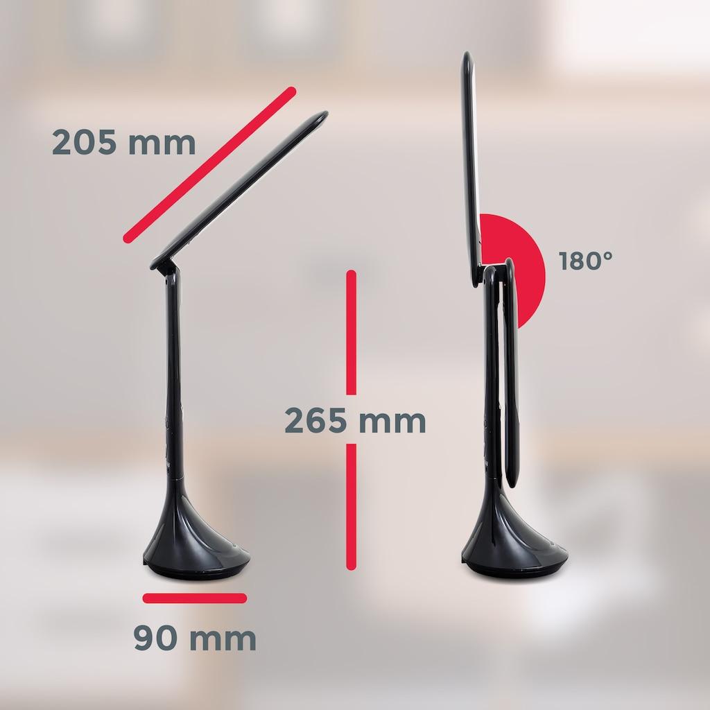 B.K.Licht LED Tischleuchte, LED-Board, Neutralweiß, LED Schreibtisch-Leuchte LCD-Display Tischlampe Büro Thermometer dimmbar schwarz